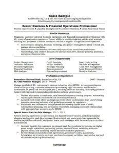 A senior finance business professional sample resume.
