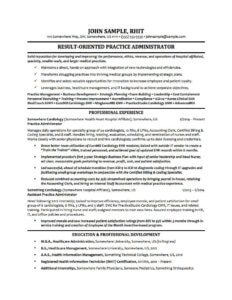 A specialized resume for a hospital or healthcare admin professional.